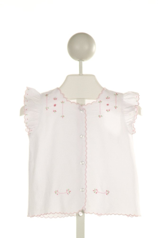 LITTLE ENGLISH  WHITE   EMBROIDERED CLOTH SS SHIRT WITH RUFFLE