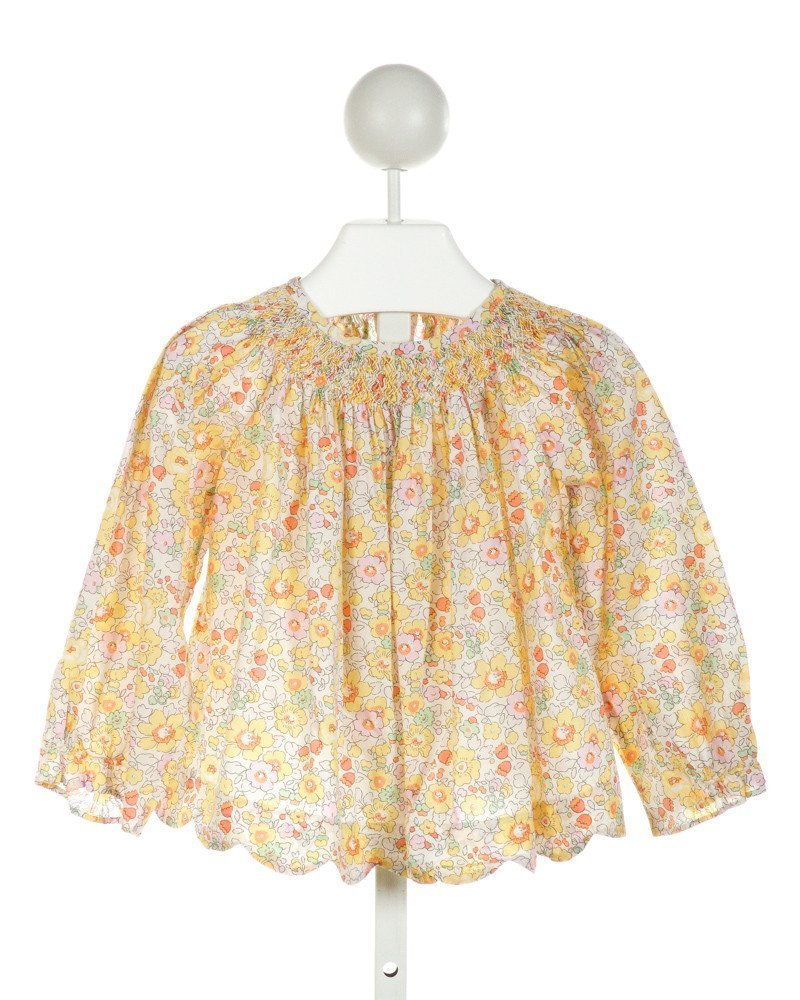 ALICE KATHLEEN  OFF-WHITE  FLORAL SMOCKED CLOTH LS SHIRT