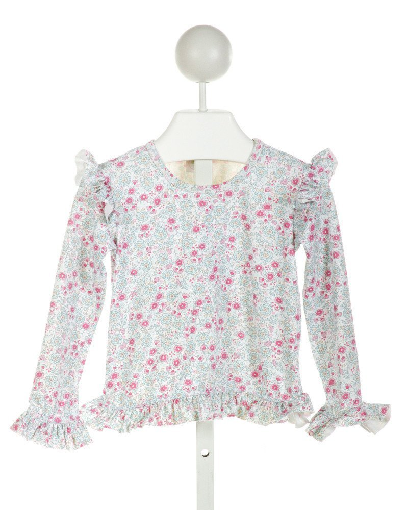 ALICE KATHLEEN  OFF-WHITE  FLORAL  COVER UP WITH RUFFLE