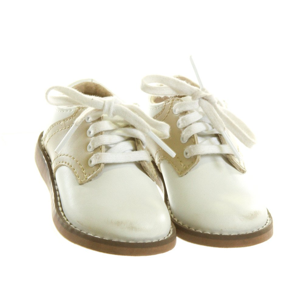 FOOTMATES WHITE AND KHAKI LEATHER SHOES *SIZE INFANT 3 WIDE, VGU - DISCOLORATION AND SCUFFING
