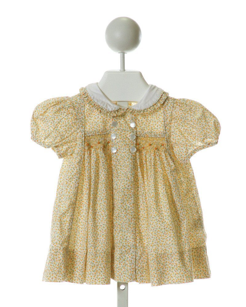 ALICE KATHLEEN  YELLOW  FLORAL SMOCKED DRESS WITH RUFFLE