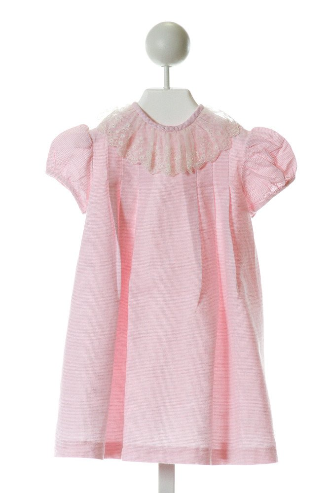 ALICE KATHLEEN  PINK  MICROCHECK  DRESS WITH LACE TRIM