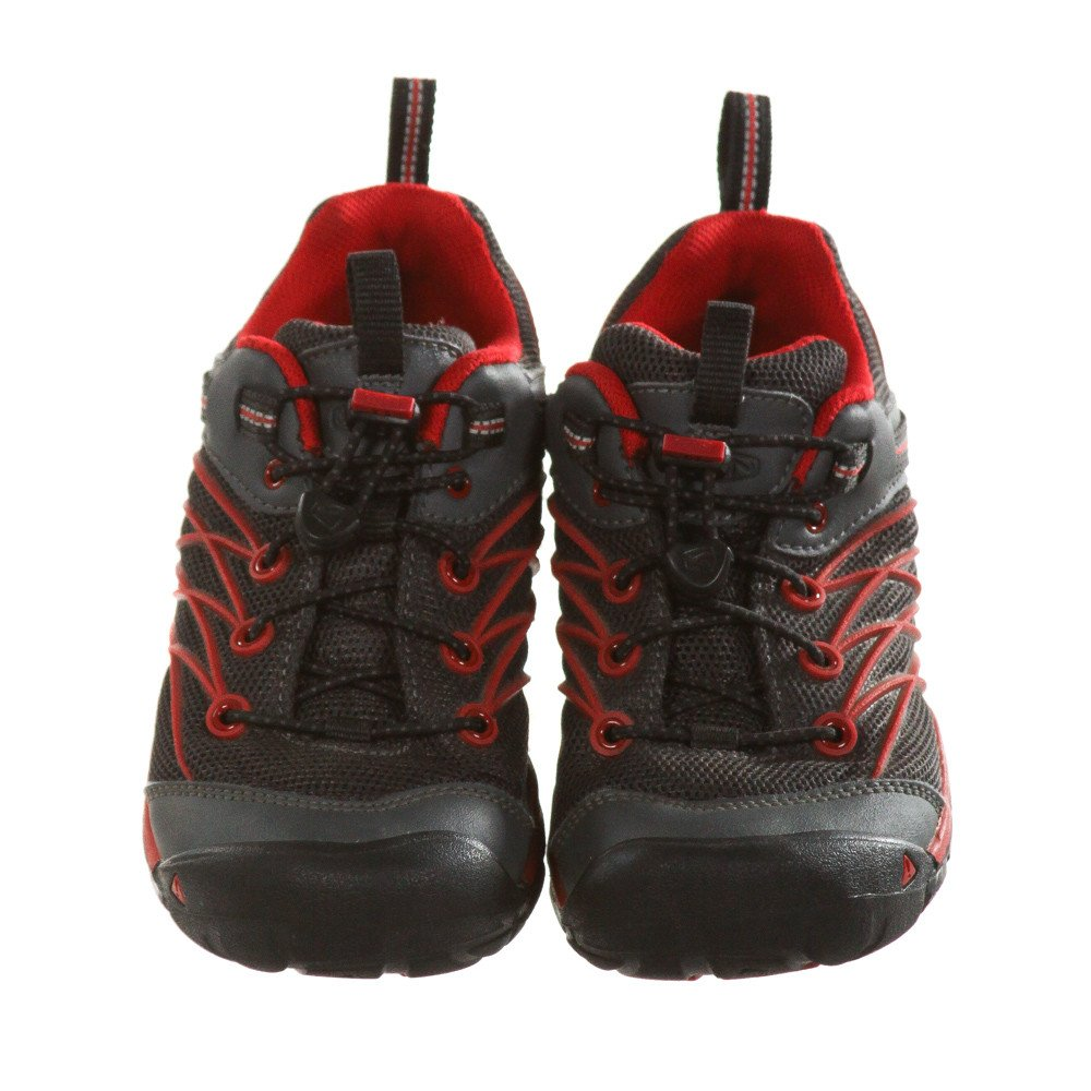 KEEN BLACK AND RED SHOES *SIZE CHILD 2, VGU - EXTREMELY LIGHT WEAR AND SCUFFING