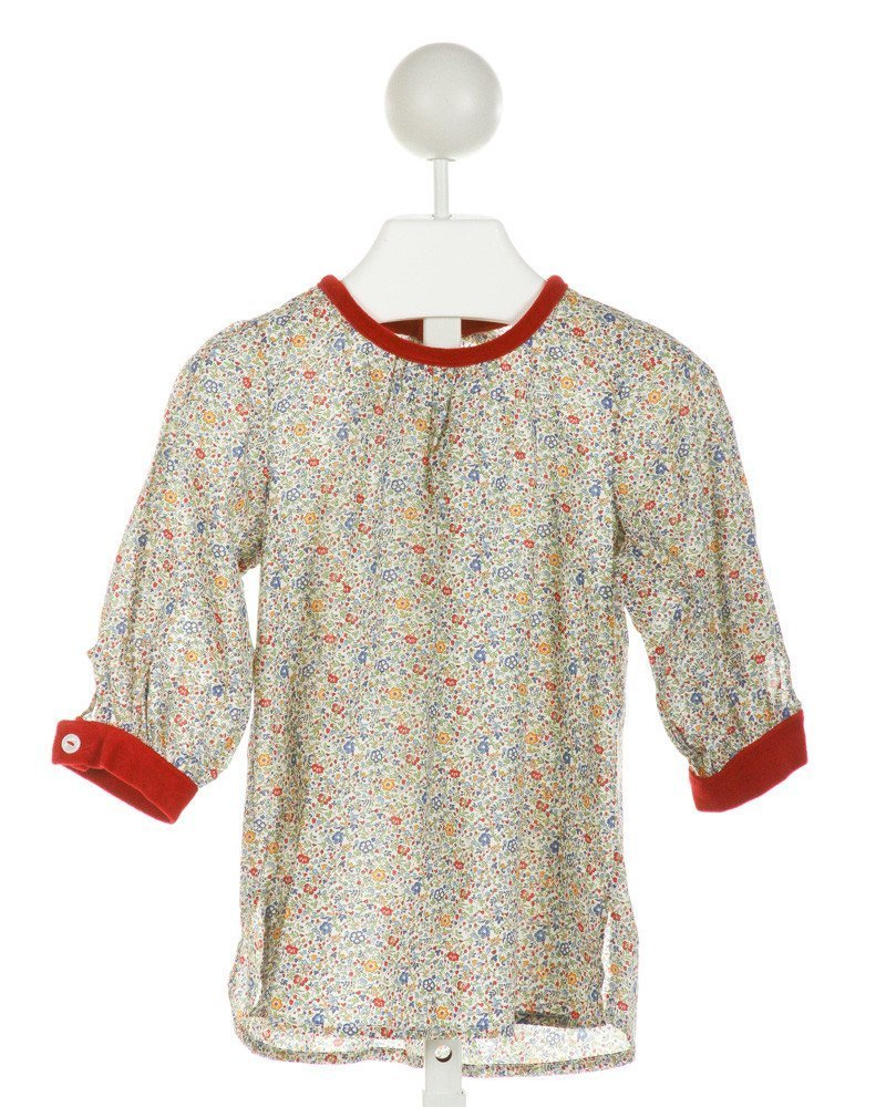 ALICE KATHLEEN  WHITE  FLORAL  CLOTH LS SHIRT