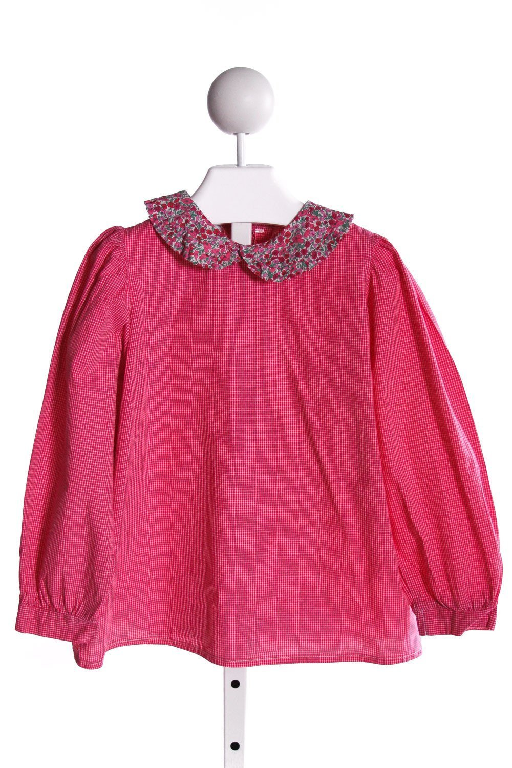 ALICE KATHLEEN  HOT PINK  WINDOWPANE  CLOTH LS SHIRT WITH RUFFLE