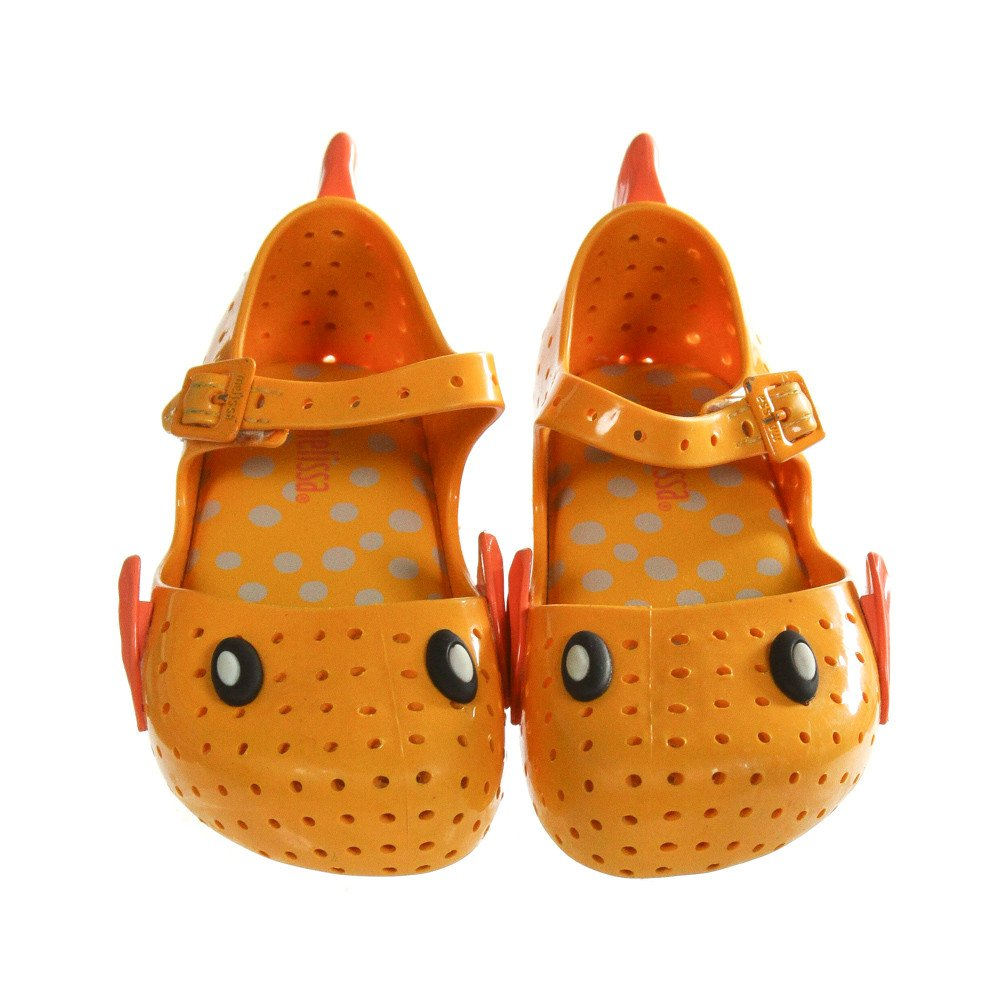 MINI MELISSA ORANGE SHOES *SIZE TODDLER 8, VGU - LIGHT WEAR AND SCUFFING