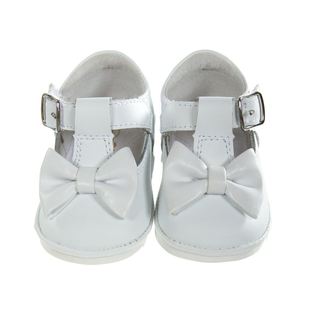 ANGEL BABY WHITE LEATHER MARY JANES WITH BOW *SIZE INFANT 1, EUC