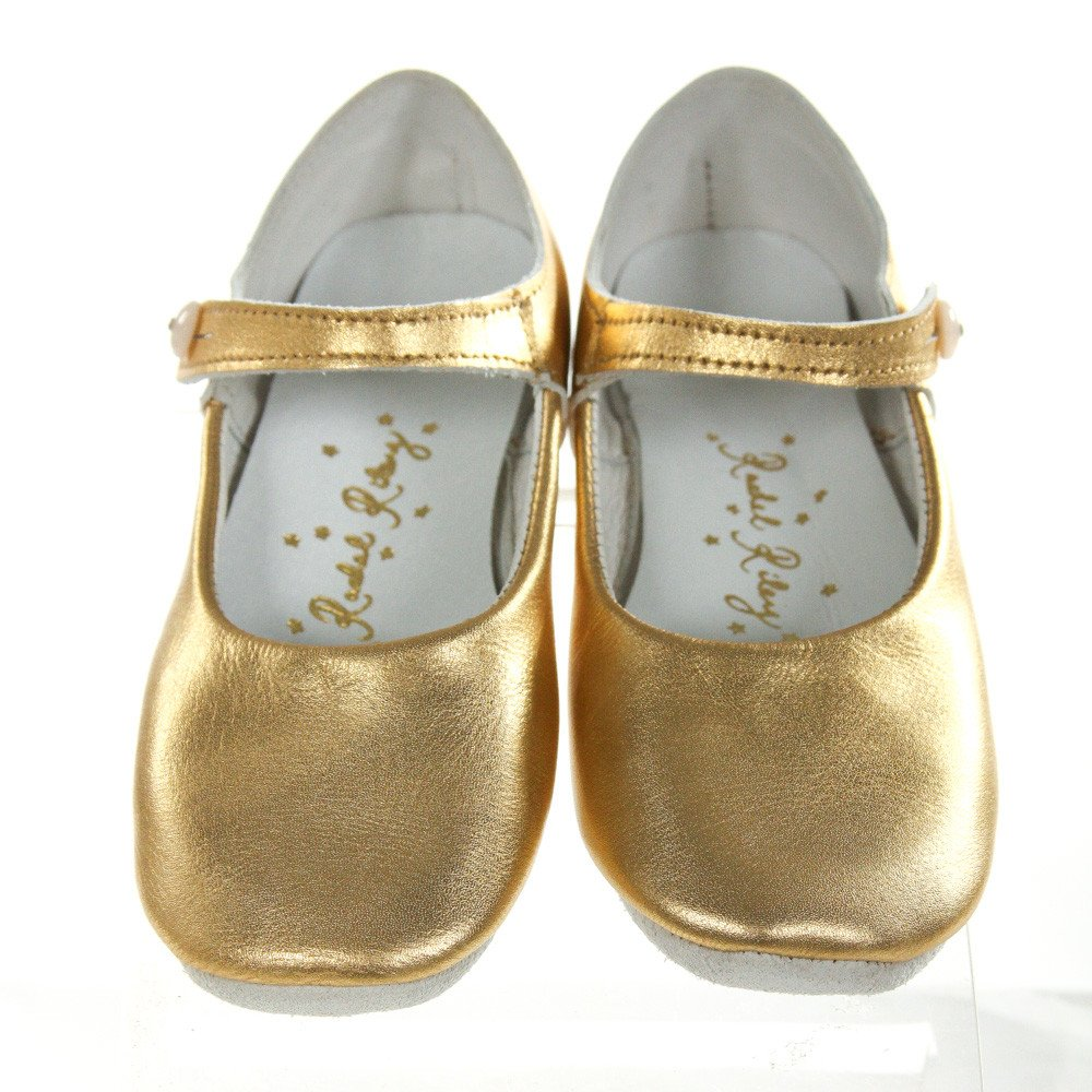 RACHEL RILEY METALLIC GOLD BUTTON STRAP SLIPPER *SIZE 25 = TODDLER SIZE 8. EUC