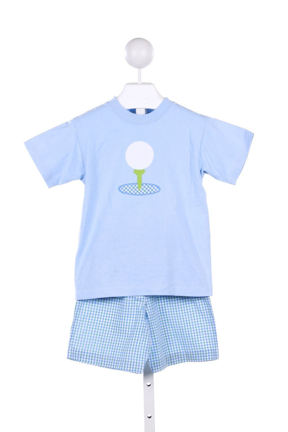 BAILEY BOYS 2 PIECE BLUE KNIT TOP WITH GOLF APPLIQUE AND MATCHING CHECKED SHORTS