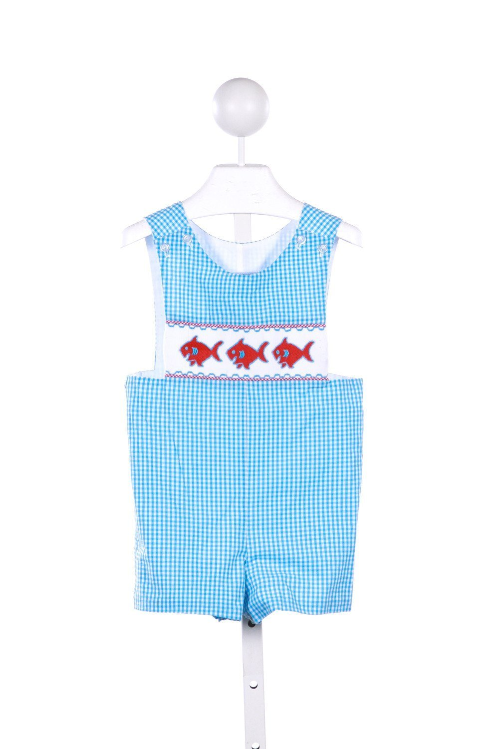 THREE SISTERS BLUE GINGHAM JOHN JOHN WITH FISH SMOCKING