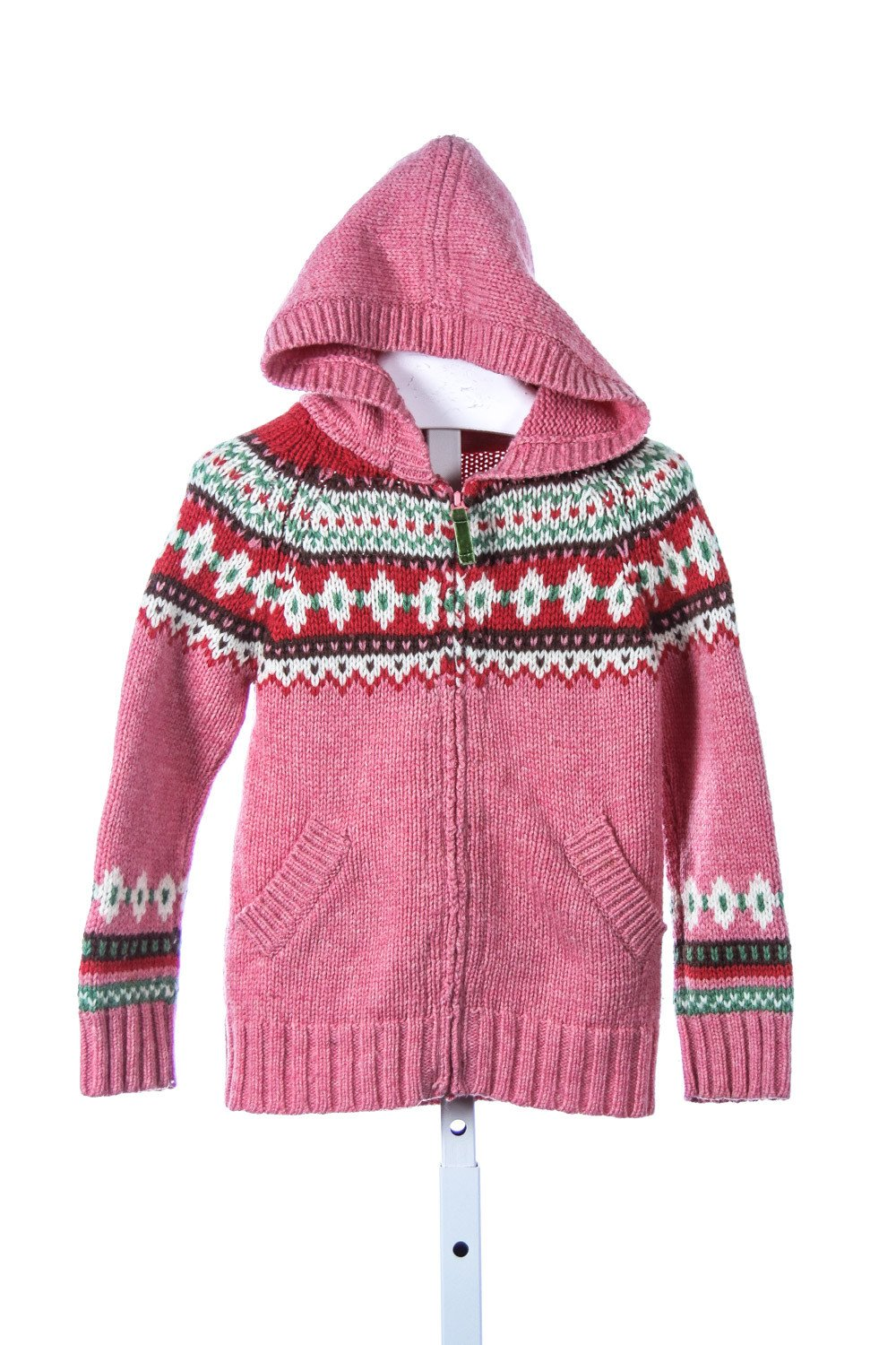 MINI BODEN PINK FAIR ISLE ZIP-UP SWEATER *SIZE 3-4