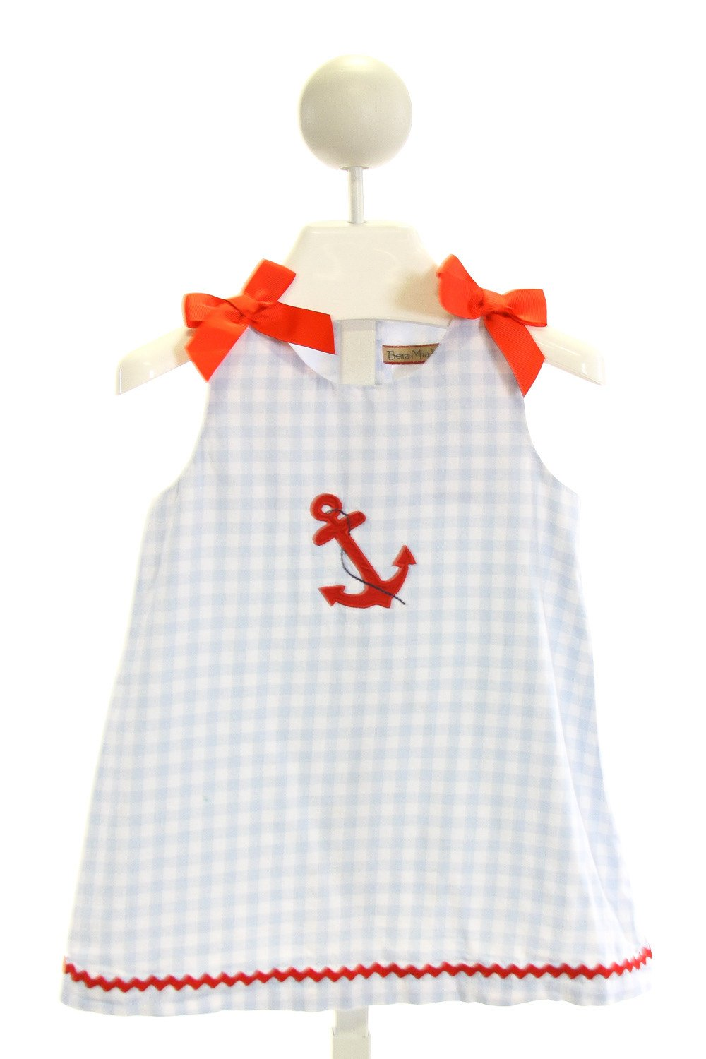 BELLA MIA KIDS  LT BLUE  GINGHAM EMBROIDERED DRESS WITH RIC RAC