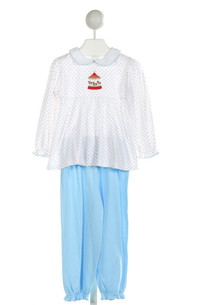 EYELET & IVY  WHITE  POLKA DOT EMBROIDERED 2-PIECE OUTFIT WITH RUFFLE
