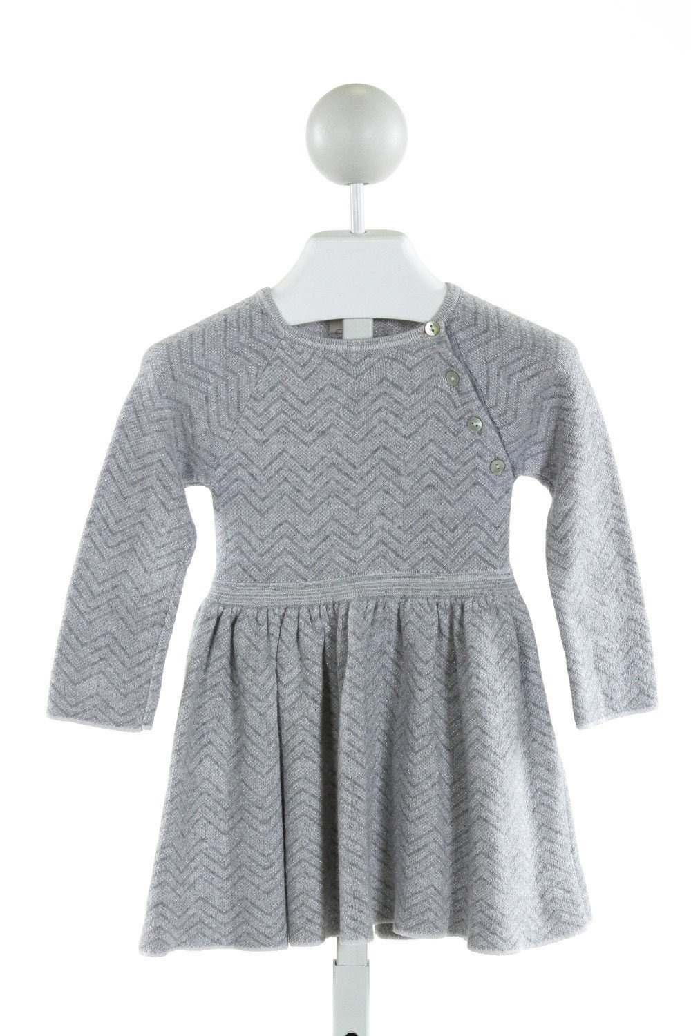 EGG  GRAY  CHEVRON  KNIT DRESS