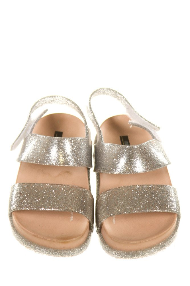 MINI MELISSA SILVER SANDALS *SIZE TODDLER 8, VGU - LIGHT SCUFFING AND DISCOLORATION