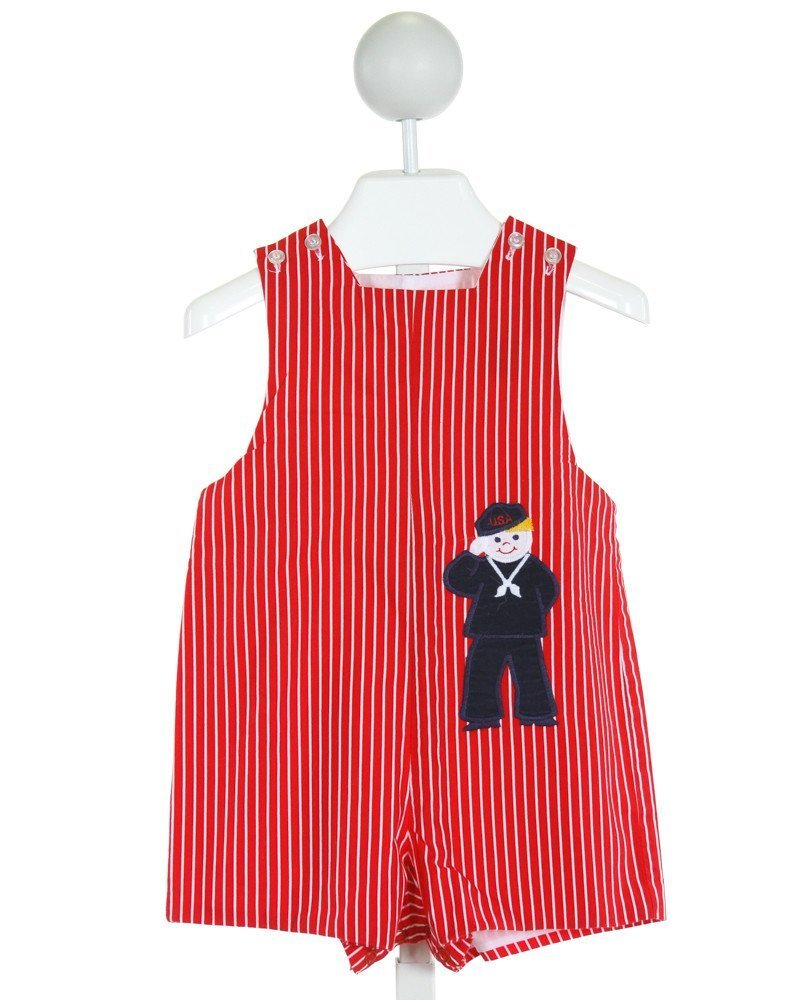 BAILEY BOYS  RED  STRIPED EMBROIDERED JOHN JOHN/ SHORTALL