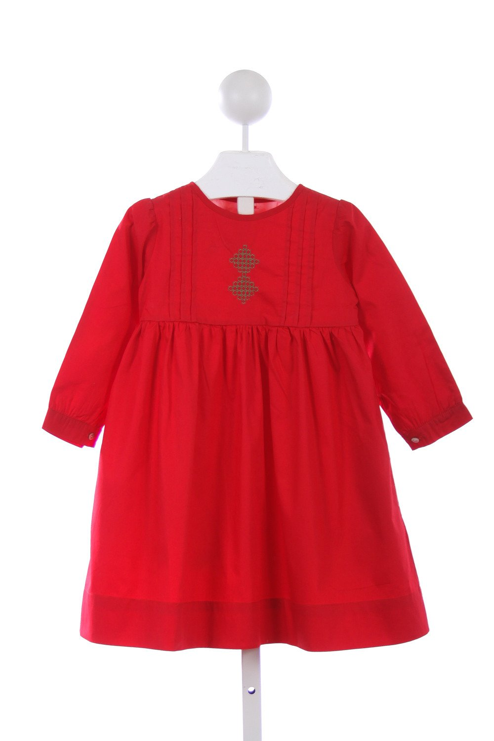 THE OAKS APPAREL RED LONG SLEEVE DRESS WITH GREEN EMBROIDERY