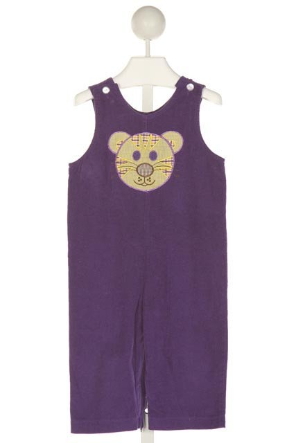 FUNTASIA TOO  PURPLE CORDUROY  EMBROIDERED LONGALL/ROMPER