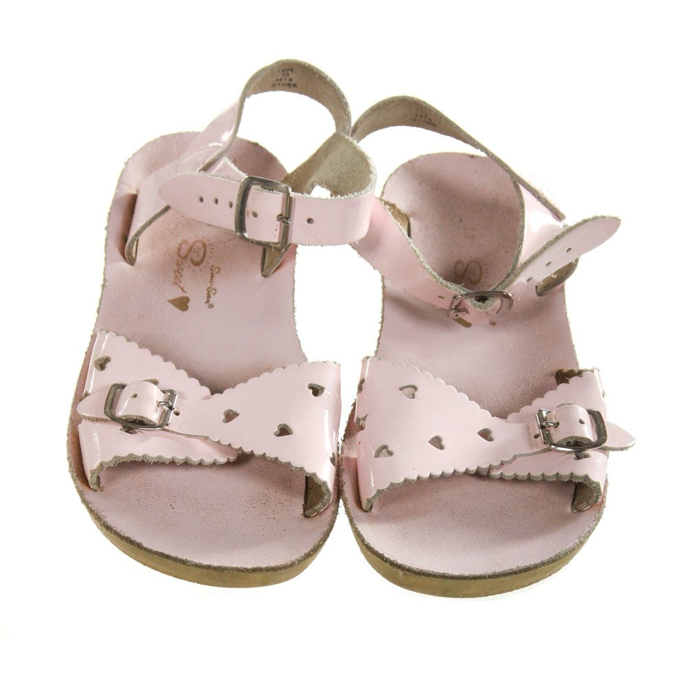 PINK SUN SANS/ SALTWATER SANDALS *SIZE TODDLER 13, GUC - DISCOLORATION AND WEAR