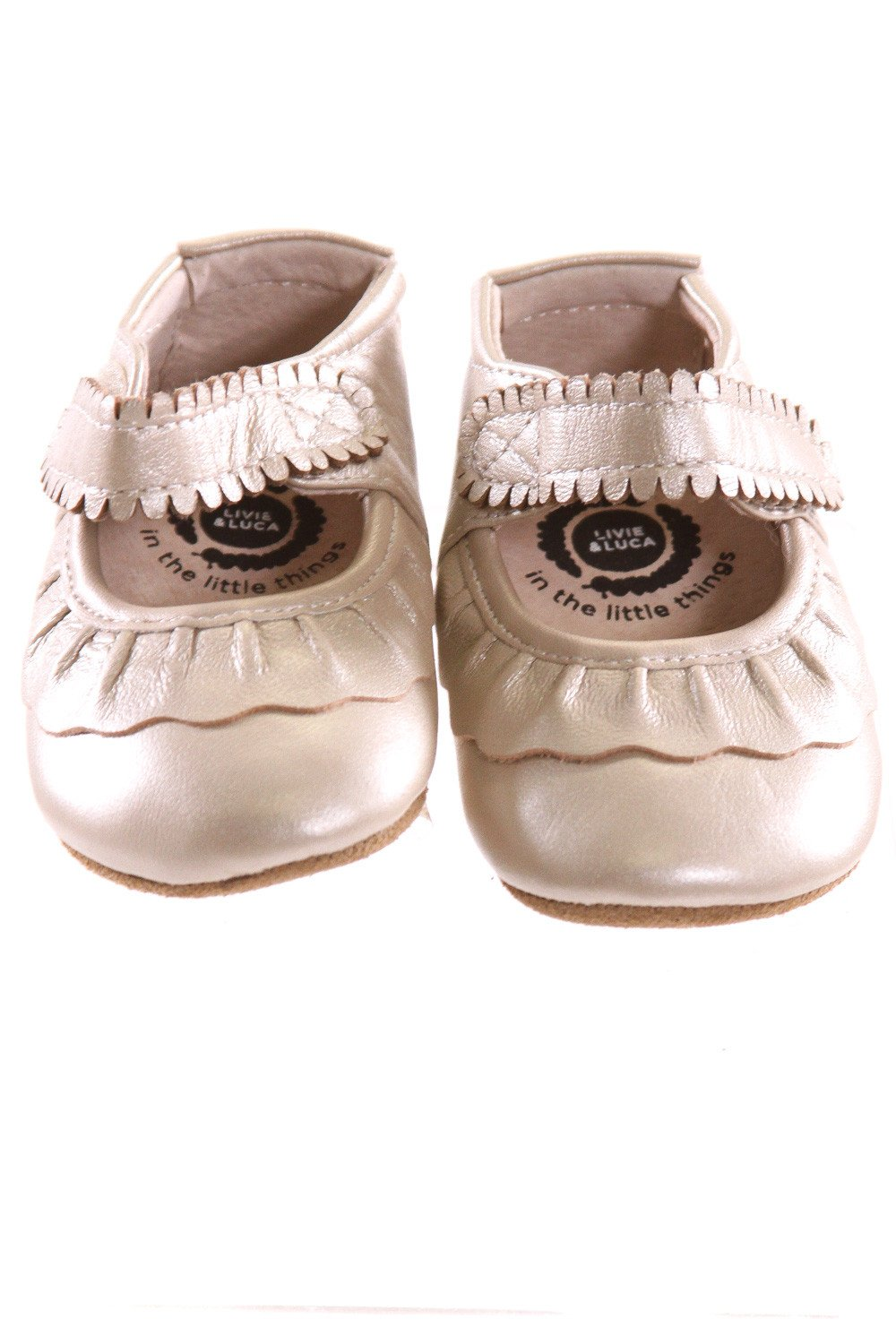 LIVIE & LUCA GOLD SOFT SOLES *SIZE 6-12 MONTHS = APPROX 3, EUC