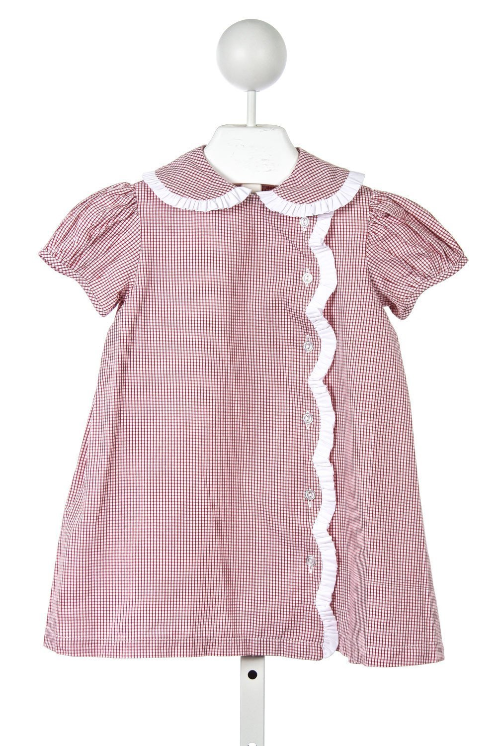 TWO GIRLS & A BOY RED TATTERSALL DRESS WITH WHITE PIQUE RUFFLE TRIM