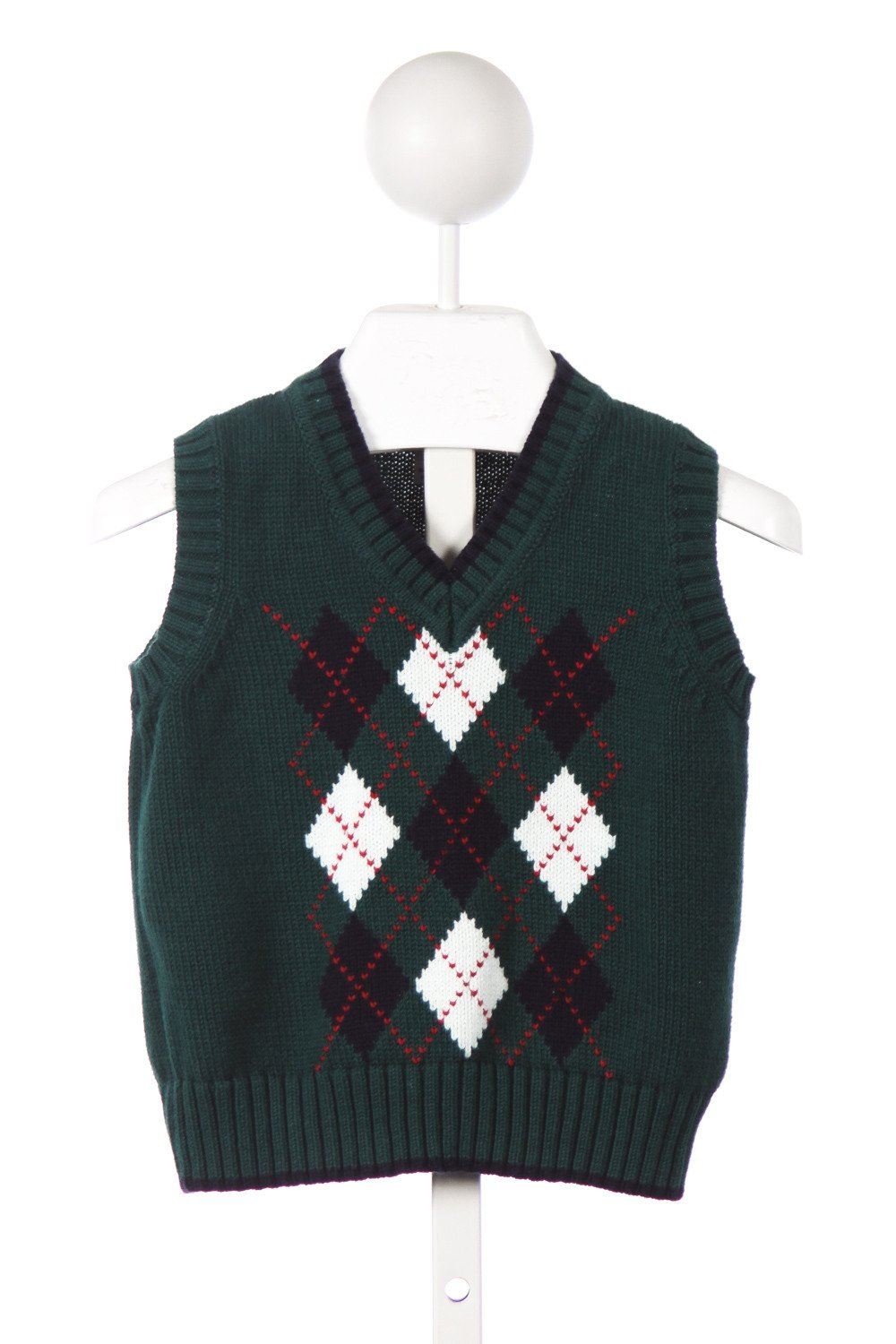 KITESTRINGS GREEN AND NAVY ARGYLE SWEATER VEST
