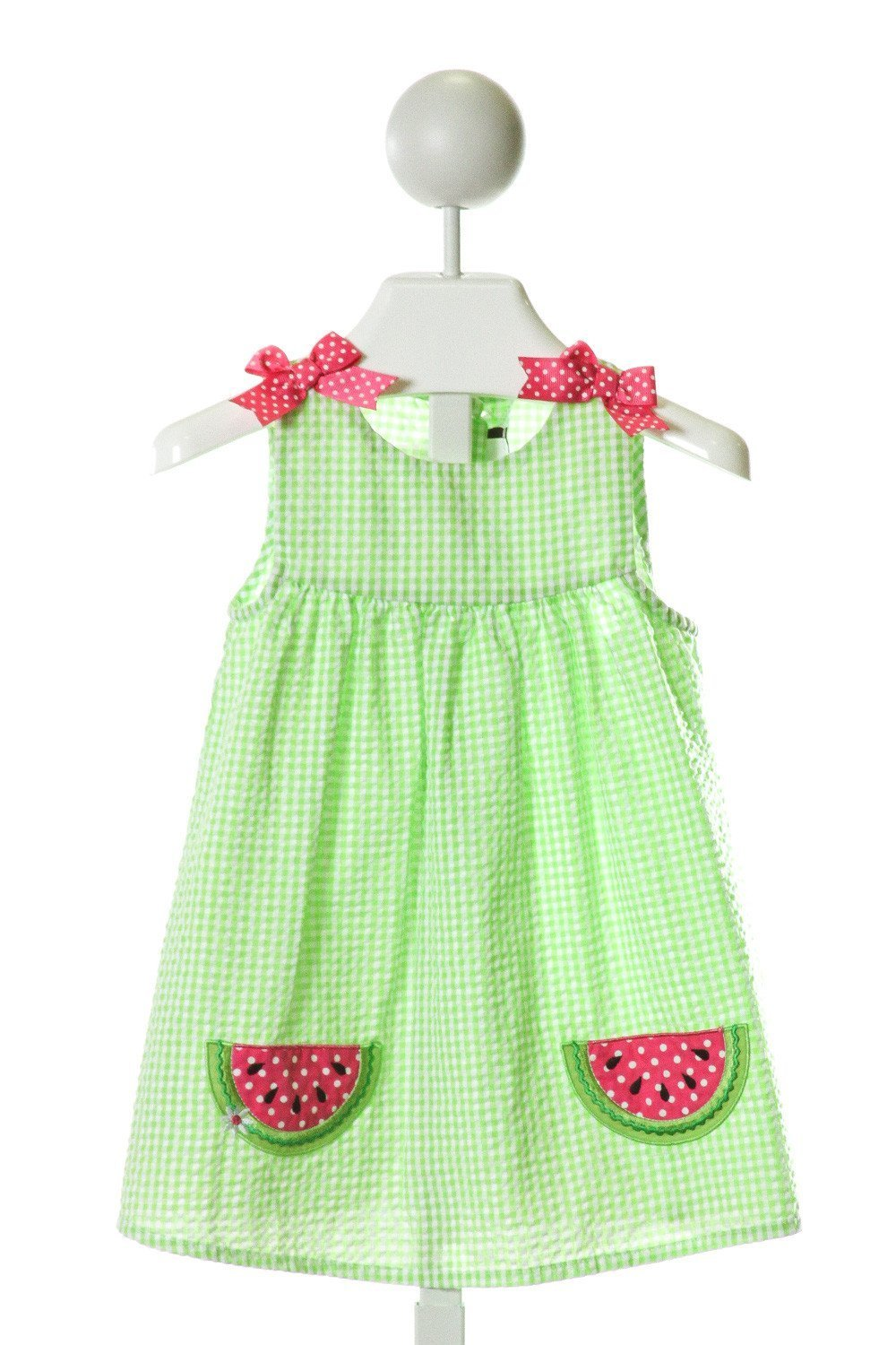 RARE EDITIONS  LT GREEN SEERSUCKER GINGHAM EMBROIDERED DRESS