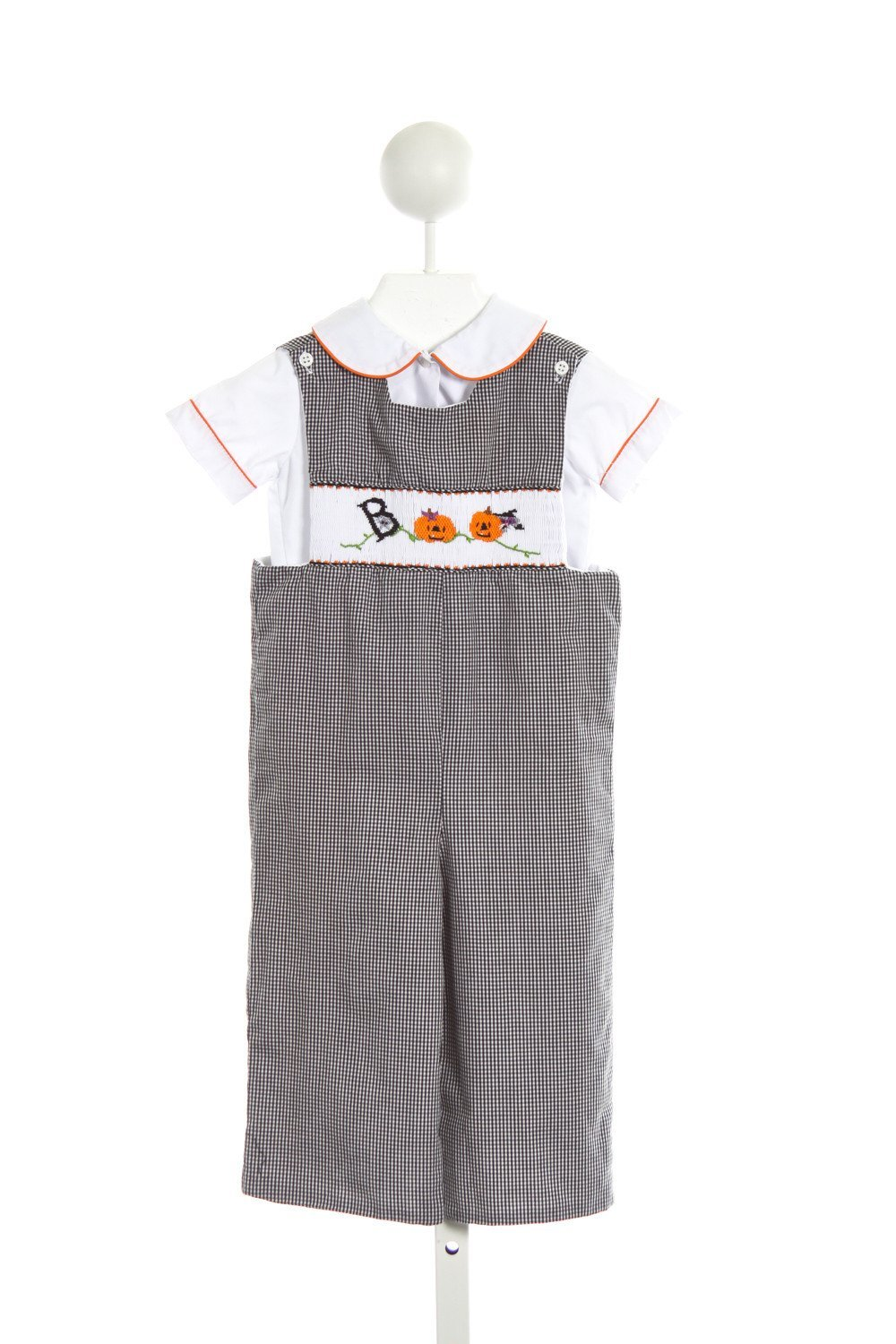 kids by me black gingham smocked halloween romper with shirt