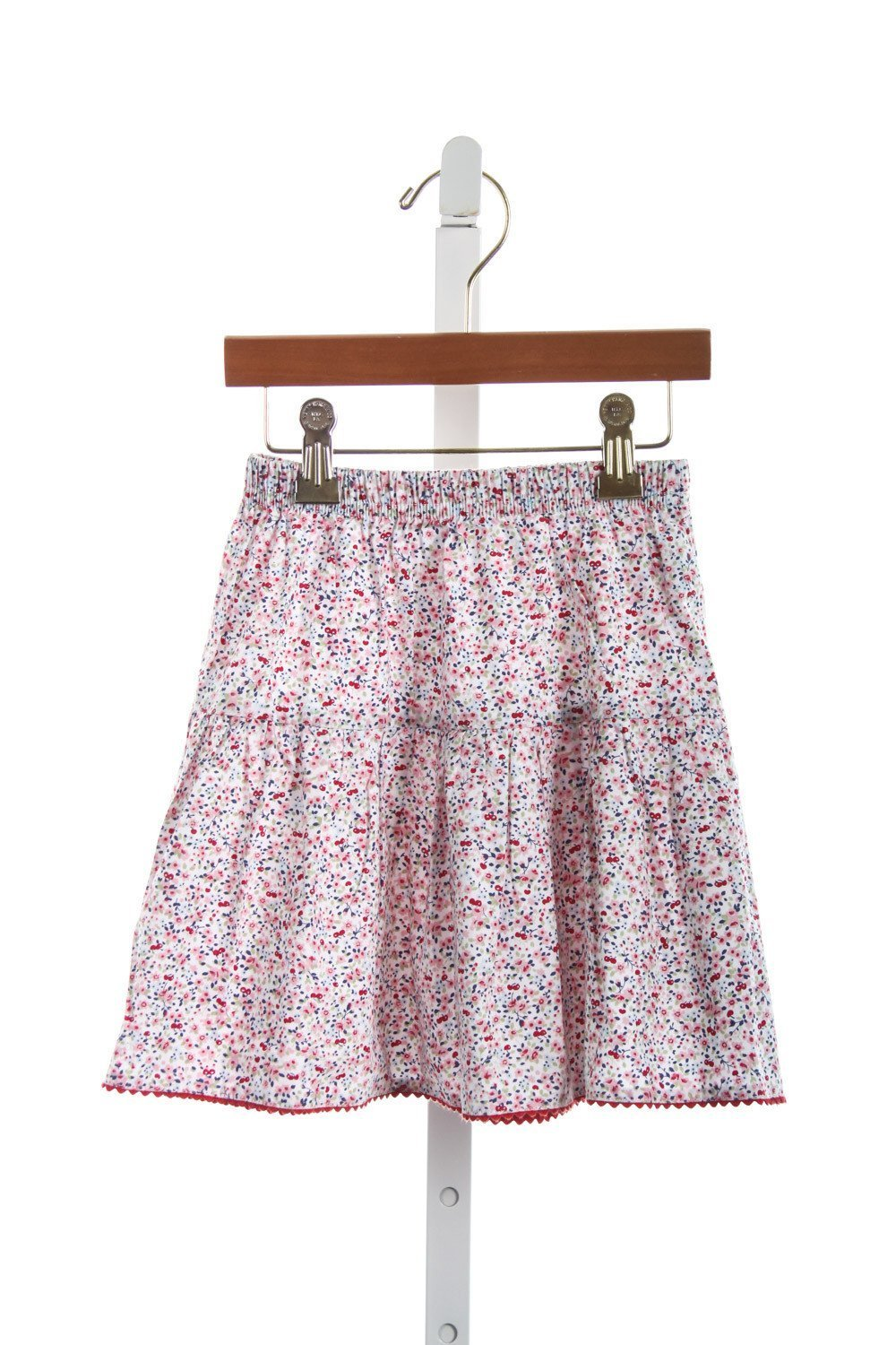 KATE & LIBBY RED CHERRY FLORAL PEASANT SKIRT WITH TINY RED RIC RAC