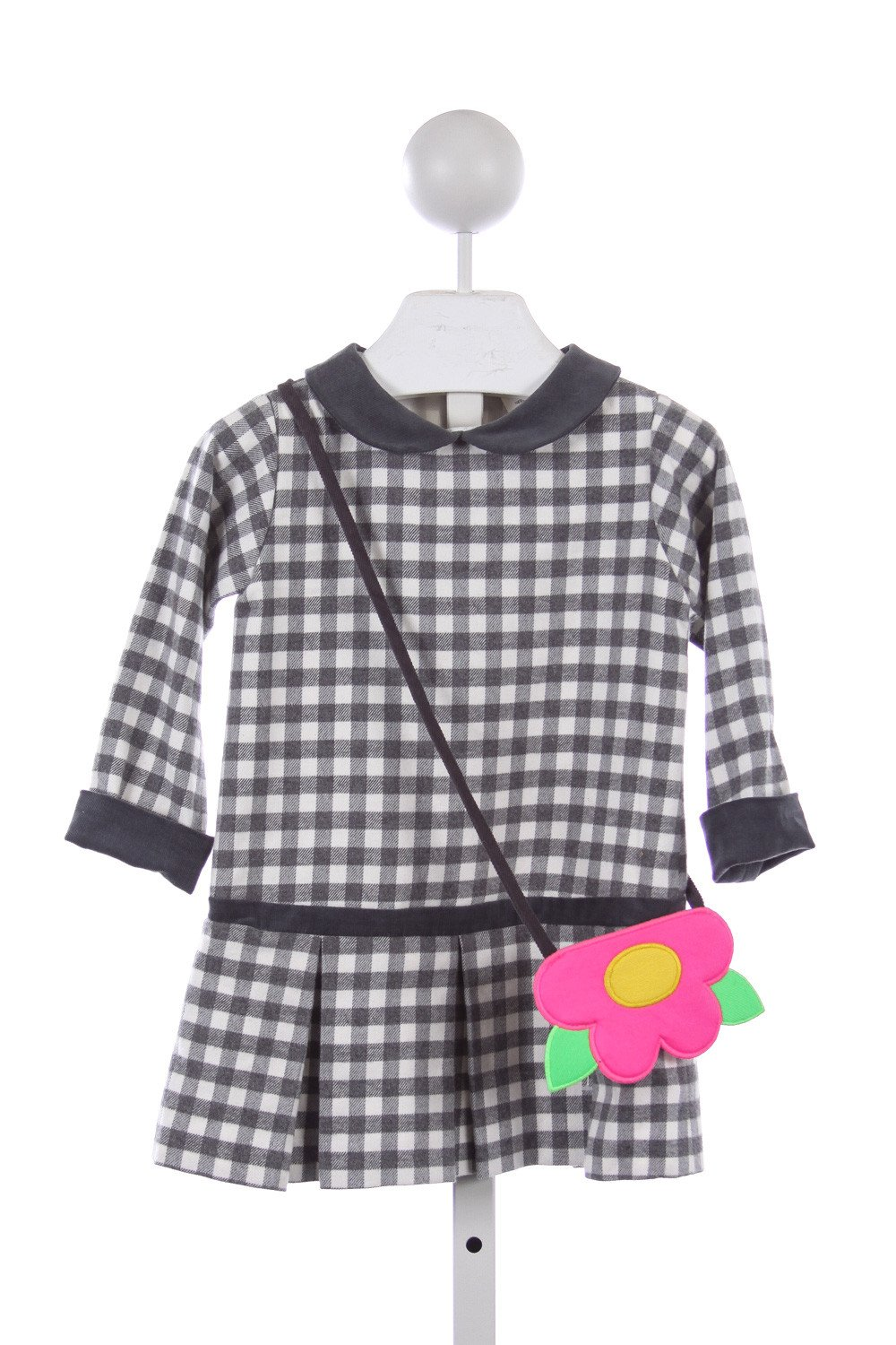FLORENCE EISEMAN GRAY GINGHAM FLANNEL DRESS WITH FLOWER PURSE