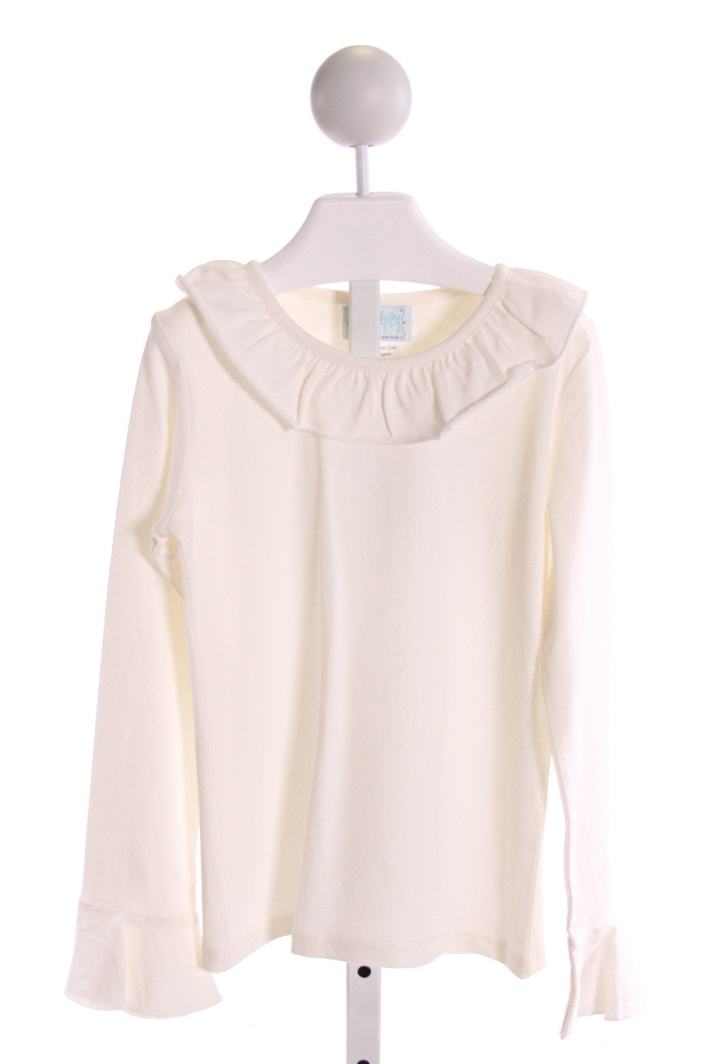 SHRIMP & GRITS  IVORY    KNIT LS SHIRT WITH RUFFLE