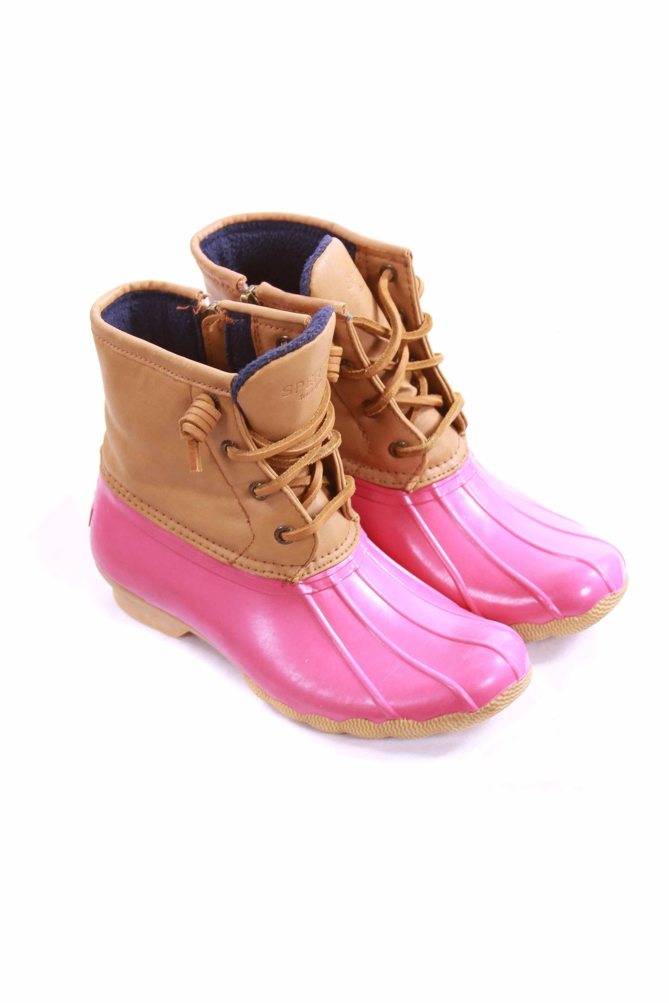 31d3df161 SPERRY HOT PINK AND TAN SALTWATER DUCK BOOTS CHILD SIZE 2 *EUC