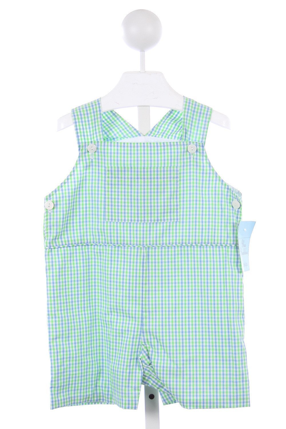 BLUE BUMBLEBEE GREEN AND BLUE GINGHAM SHORTALL