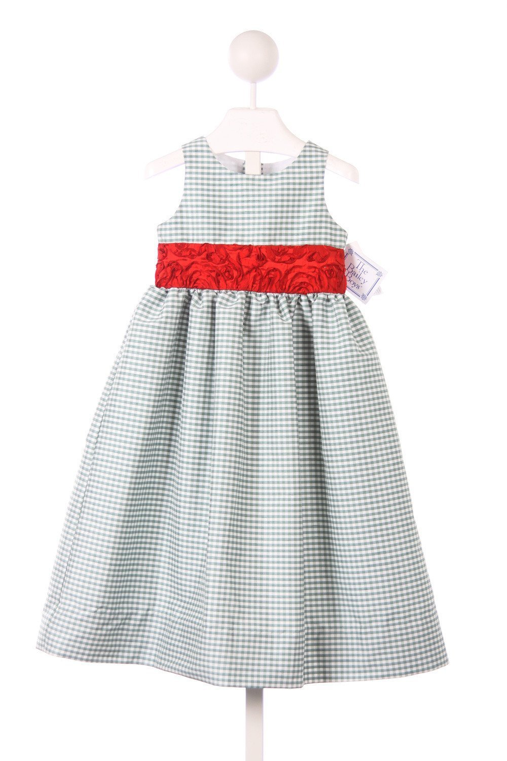 BAILEY BOYS GREEN AND WHITE CHECKED DRESS WITH RED WAISTBAND