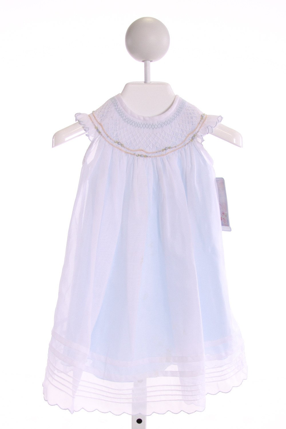 WILLBETH  LT BLUE   SMOCKED DRESS WITH RUFFLE