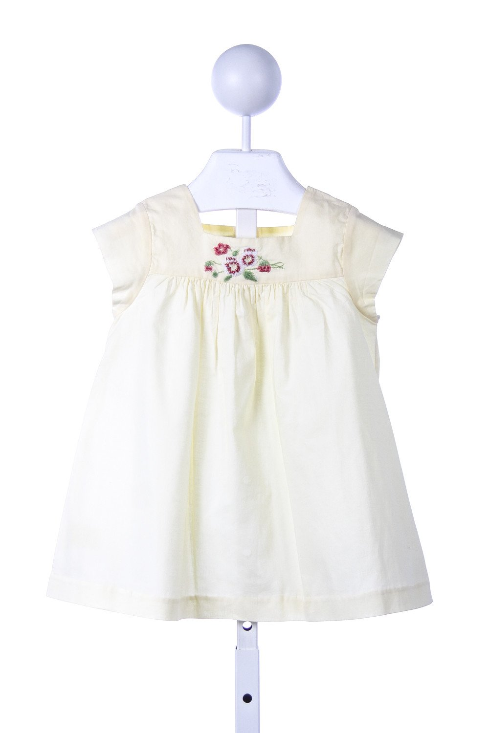 PIXIE LILY LIGHT YELLOW DRESS WITH EMBROIDERED PANSIES