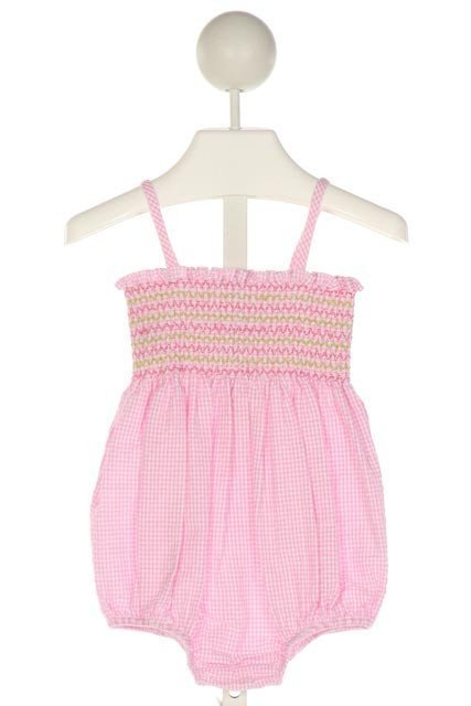 SOUTHERN SUNSHINE KIDS  PINK SEERSUCKER GINGHAM SMOCKED BUBBLE WITH RUFFLE