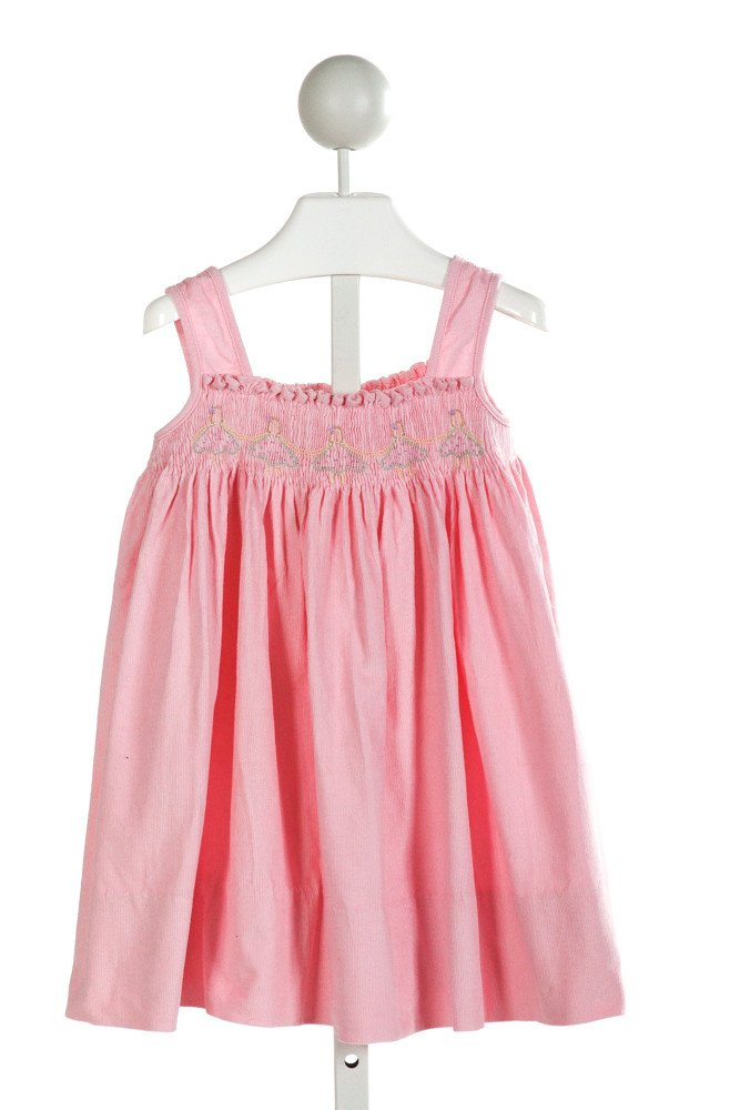 ALICE KATHLEEN  HOT PINK CORDUROY  SMOCKED DRESS WITH RUFFLE