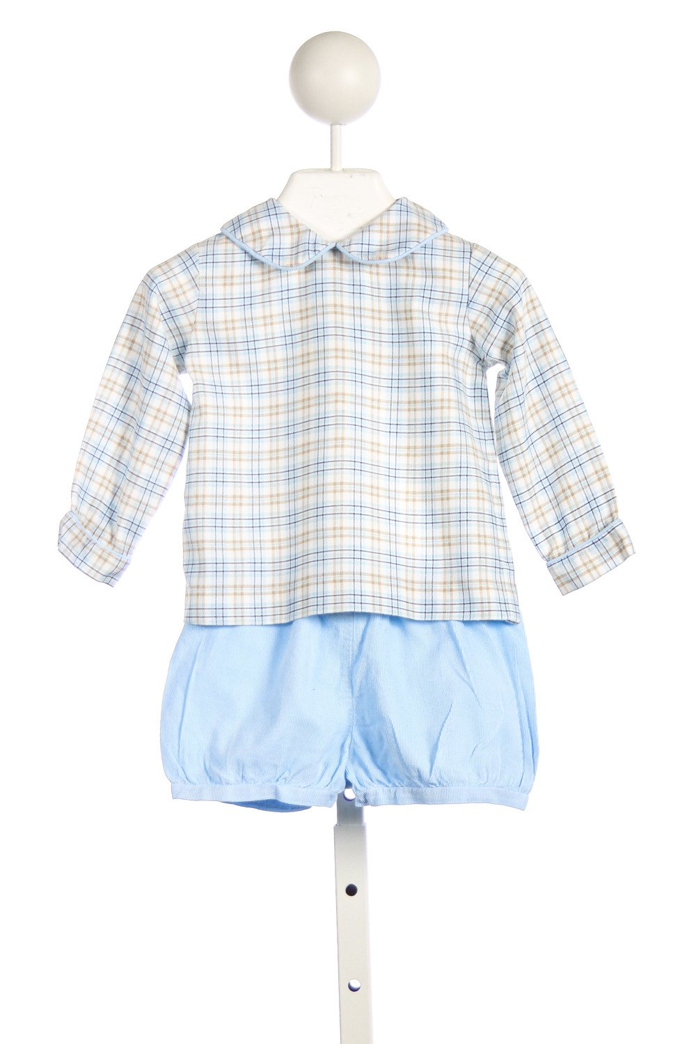 LITTLE ENGLISH BLUE AND KHAKI PLAID SHIRT WITH BLUE CORD SHORTS