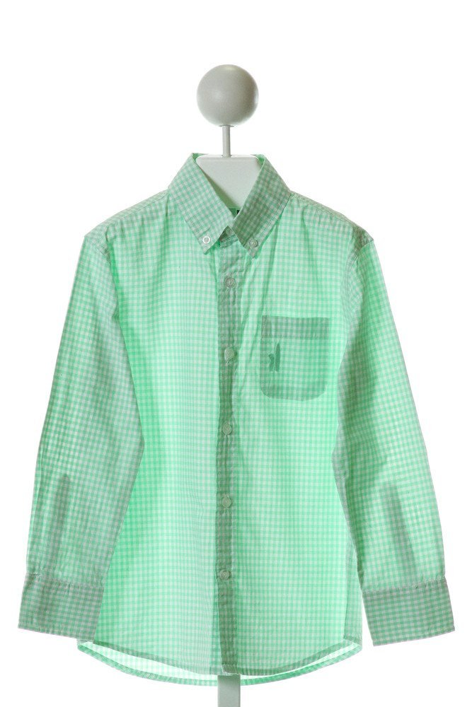 JOHNNIE-O  LT GREEN  GINGHAM  CLOTH LS SHIRT