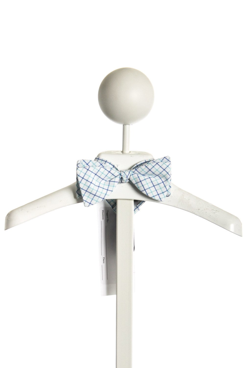 ALICE KATHLEEN BLUE/AQUA WINDOWPANE BOW TIE