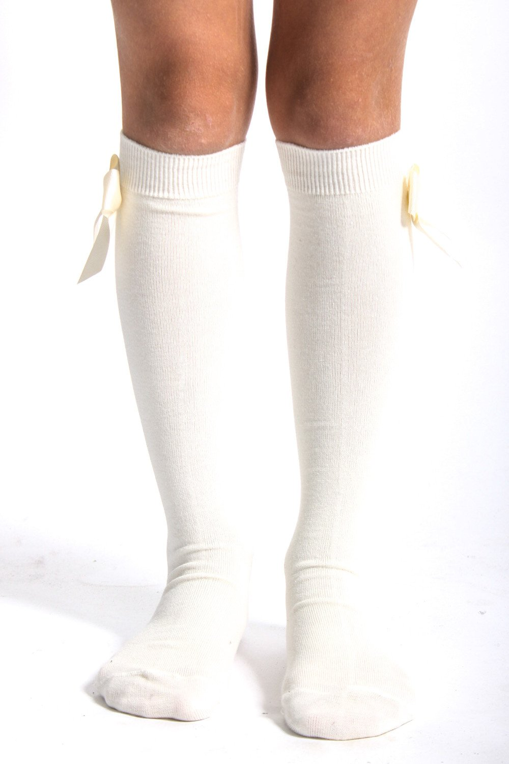 ALICE KATHLEEN CREAM KNEE SOCKS WITH BOW