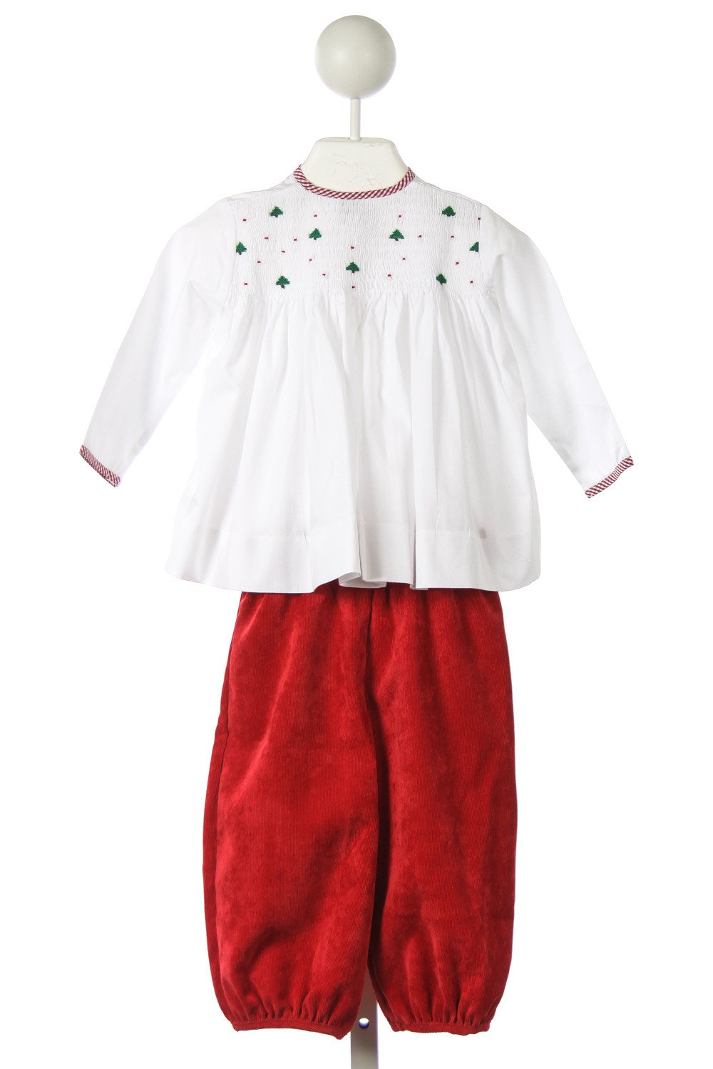 ALICE KATHLEEN SMOCKED CHRISTMAS TREE APRON SET