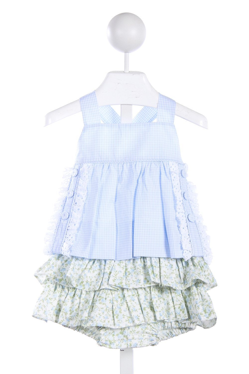 ALICE KATHLEEN BLUE GINGHAM  AND WHITE EYELET TOP WITH BLUE FLORAL RUFFLE BLOOMERS