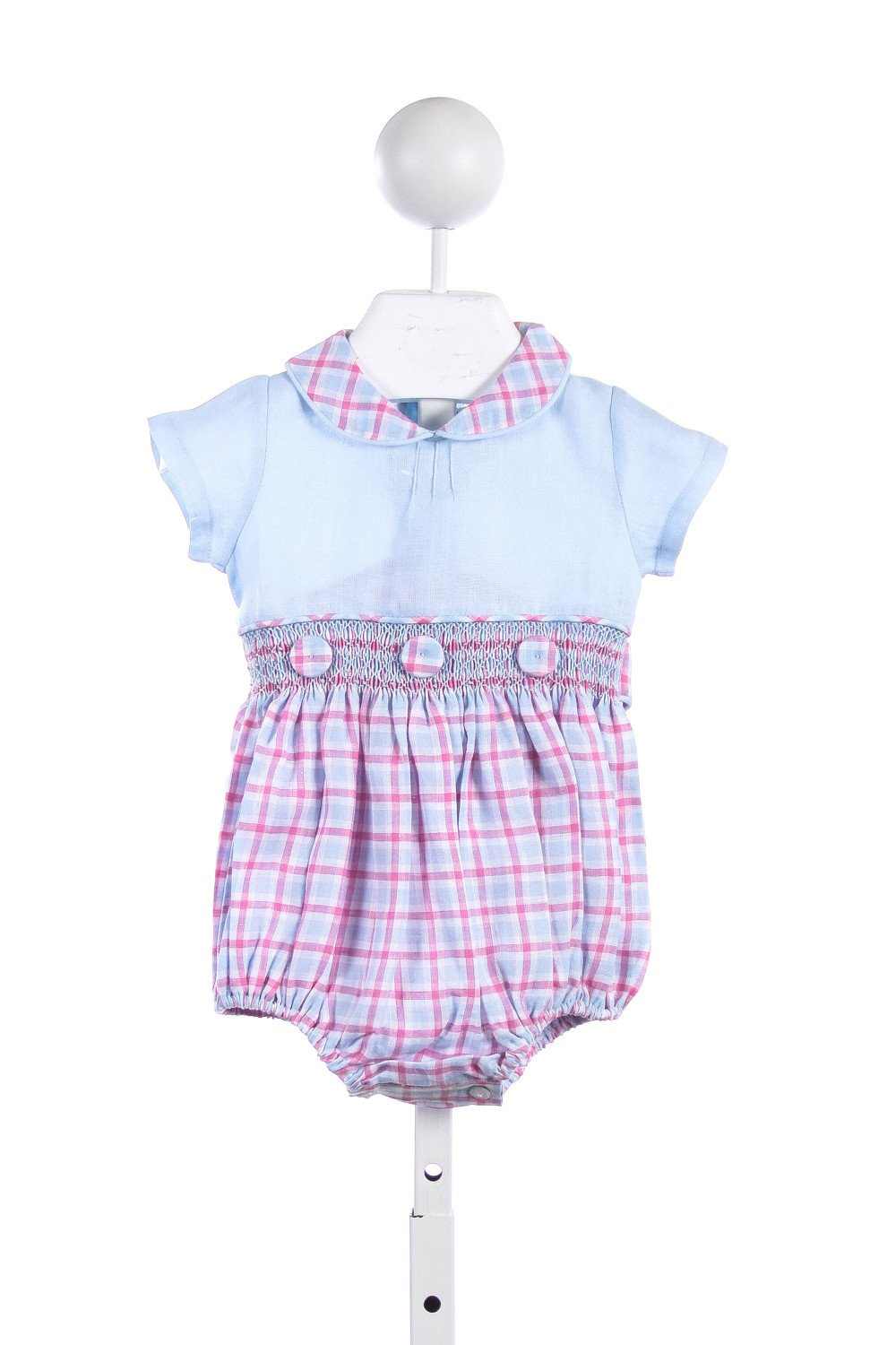ALICE KATHLEEN BLUE AND PINK/BLUE/WHITE PLAID LINEN BUBBLE