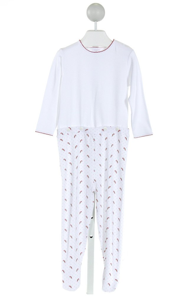 ALICE KATHLEEN  WHITE  POLKA DOT PRINTED DESIGN KNIT ROMPER WITH PICOT STITCHING