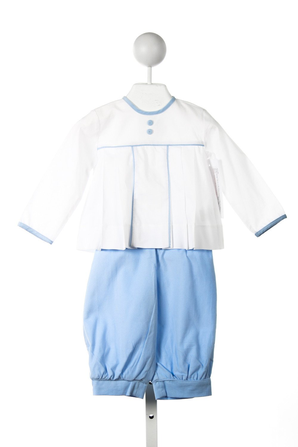 RED BEANS BOY SWING TOP IN WHITE WITH BLUE CORD TRIM AND BOY BUBBLE PANTS IN BLUE CORD