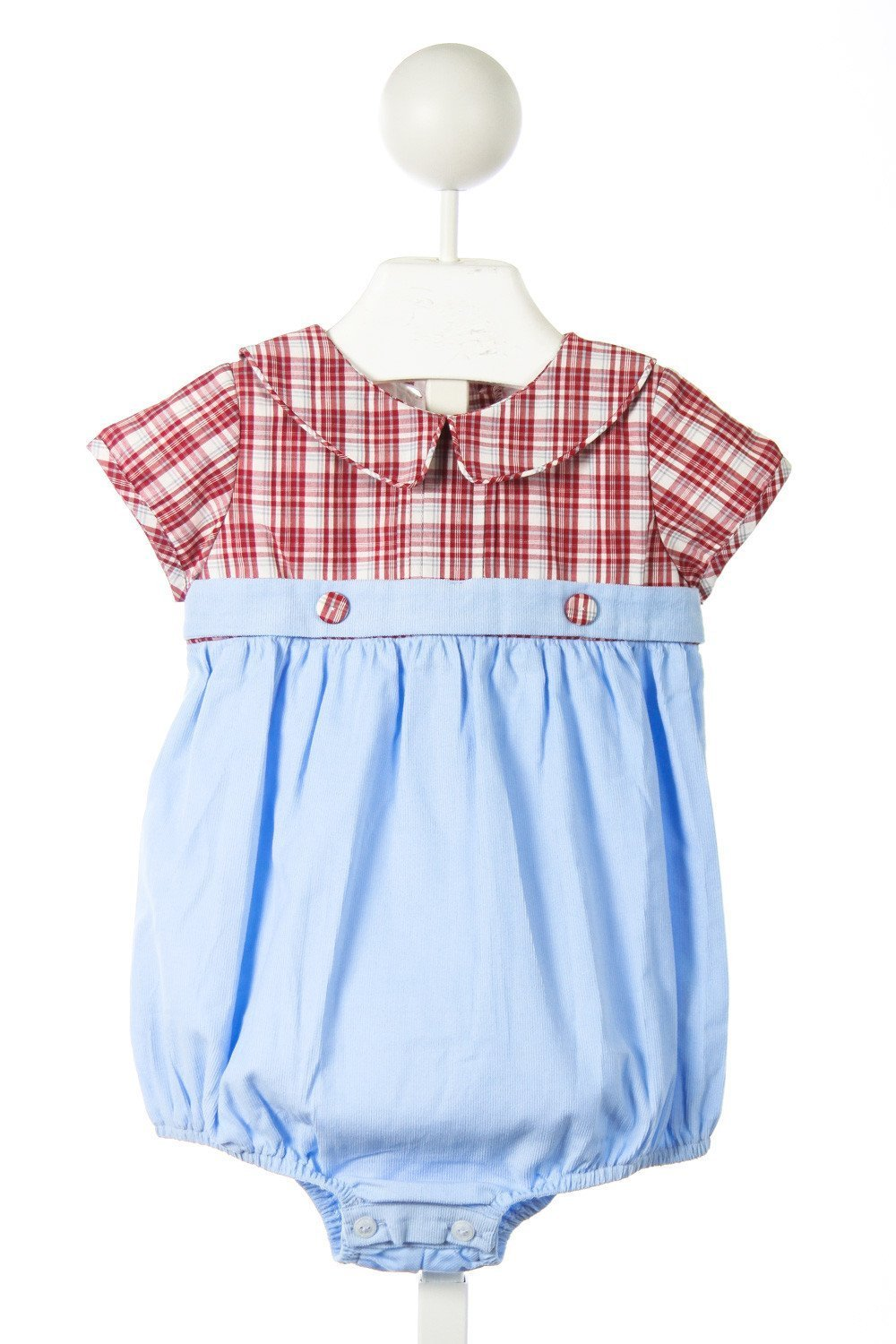 RED BEANS BOY BUBBLE IN RED/BLUE/IVORY PLAID AND BLUE CORD