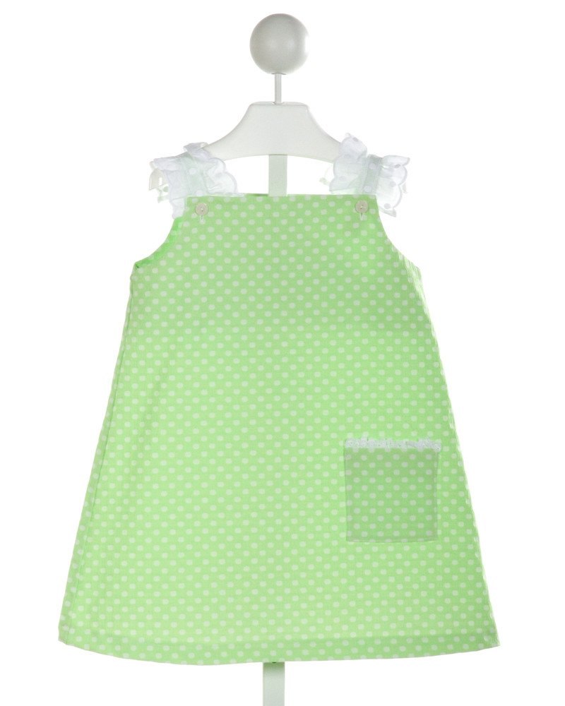 ALICE KATHLEEN  LIME GREEN  POLKA DOT  DRESS WITH RUFFLE