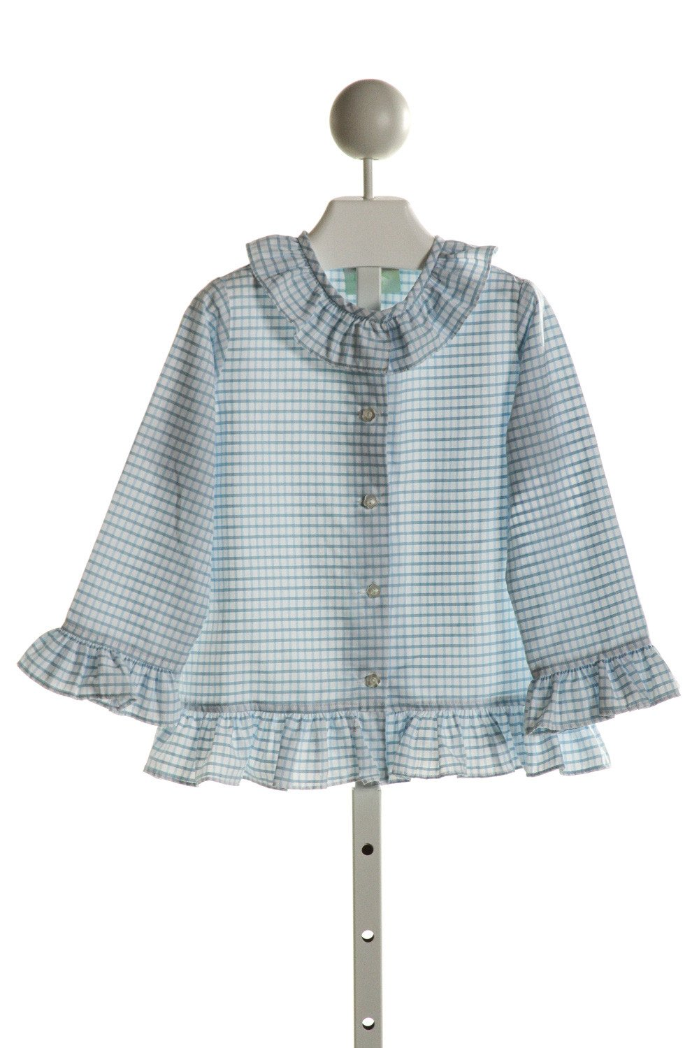 ALICE KATHLEEN  LT BLUE  GINGHAM  CLOTH LS SHIRT WITH RUFFLE